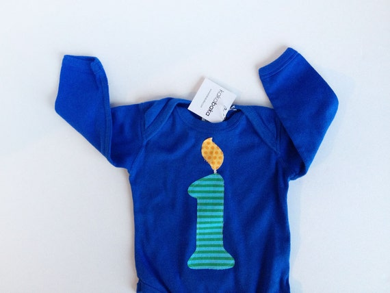 Boy First Birthday Number 1 Candle Long Sleeve One Piece Blue