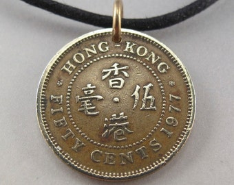 coin jewelry / HONG KONG  necklace /   chinese coin necklace /  1977 coin  NO.00149