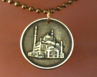 EGYPT COIN necklace. EGYPT necklace. Egyptian mosque charm. Middle East Souvenier. Mens Coin Jewelry pendant.   No.001667