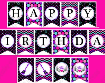 Rockstar Girl Birthday Banner PRINTABLE Party  hot pink teal purple black guitar INSTANT DOWNLOAD diy