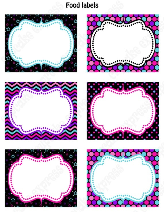 Rockstar Girl Birthday Party decorations  PRINTABLE Food Labels pink black teal purple rock star INSTANT DOWNLOAD diy