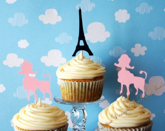 French Poodle Cupcake Toppers