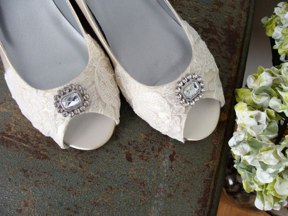 Size 8 5 Lace Wedding Shoes Wide Width Wedge Shoes Embellished