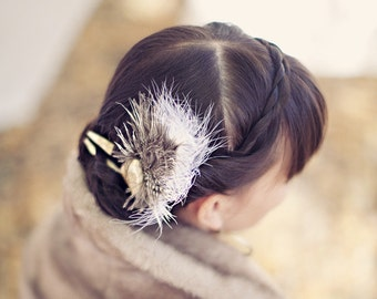 Feathered Antler Bridal Fascinator - AVIUM- Hair Comb Fork Earthy Tribal Woodland Wedding Hair Piece