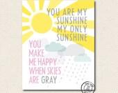 8x10 You Are My Sunshine Pink Print SALE