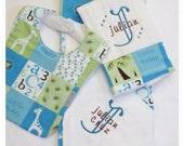 3pc Personalized Boy baby gift set, blanket-bib-burp cloth