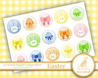 Easter 1 Inch Circle Digital Collage - INSTANT DOWNLOAD - Easter Bottle Cap Images -  4x6 Digital Collage Sheet