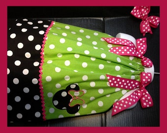 Custom Made Minnie Mouse DRESS Embroidered Applique NAME Inspired Lime green Polka dot SIZES 6M-6yrs pink trim