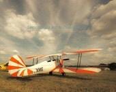 Dreamer, Airplane, Photography Print, 8x10 + More Sizes, Antique Plane, Orange, Stripes, Clouds, Sky, Wall Art, Home Decor, Aircraft