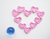 Crochet Heart Applique, Pale Pink, Romantic & Sweet, Set of 10, Valentines Day Heart Love Motif