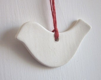White Robin Bird Ornament