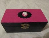 Pink And Black Cameo Skull Leopard Lined Keepsake Box