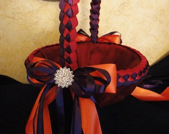 Wedding Flower Girl Basket - Custom Made to your Colors