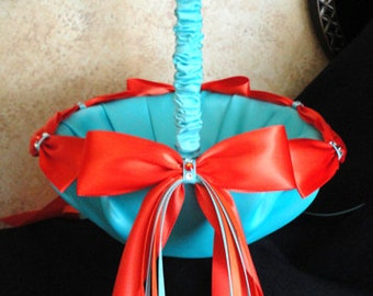 Wedding Flower Girl Basket Blue and Orange or Custom made to your Colors with Swarovski Crystals