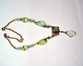 Upcycled Necklace ./. Aquamarine Beads ./. Abalone Pendant ./. Collier ./. Aigue Marine ./. Stone Mix Necklace ./. Reworked Necklace