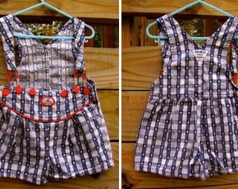 Vintage Blue and White Star Spangled Plaid OshKosh Dressy Short Overalls (4T)
