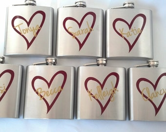 1 Bridesmaid flask, 6 ounce, stainless steel personalized flask.  Bridesmaid and Maid of honor gift.  Burgundy and gold heart design