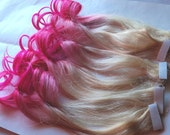 Hot Pink and Blonde Ombre Fade Dip Dye Clip in Human Hair Extensions LARGE Set Double Layered