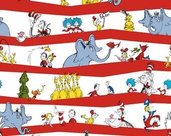 Robert Kaufman - Seuss - Celebration C3 Party Stripe  - 1 Yd Shannon Fabrics
