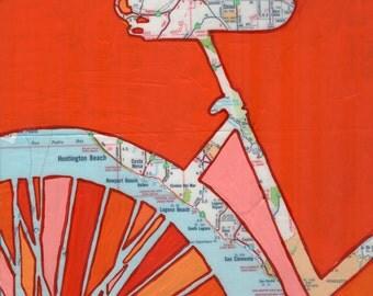 Bike Huntington Beach print - Newport Beach, Laguna, Corona del Mar, Chino,  California-vintage bicycle art