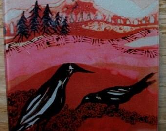 """Cutting Board -  Crows Alone   -  from original batik by Carol -  8"""" x 11"""""""