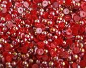 100 - Deep Red AB Pearl Flatback Resin Decoden Cabochons, Half Pearl Cabochons, Flat Pearls, Flat Back Pearls, Embellishment,  8MM (R4-071)