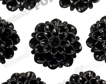 20mm - Black Dahlia Chrysanthemum Flower Cabochons, Flower Cabs, Flat Back Embellishment, Mum Shaped, (R2-081)