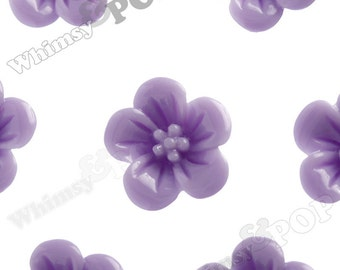 Lavender Purple Hibiscus Flower Cabochons, Hibiscus Cabochon, Flower Shaped, 13mm x 5mm (R2-042)