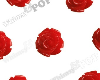 Open Bud Red Rose Cabochons, Rose Flower Cabochons, Flower Cabs, 15mm x 7mm (R2-133)