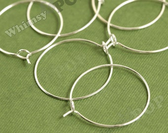 100 - Silver Plated Wine Glass Charm Rings / Earring Hoops Blanks and Findings, Silver Blanks,  25mm (C1-03)