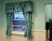 """1 Valance or Panel Retro Look Turquoise  ATOMIC  Print  Eames style 14"""" 18"""" 24"""" 32"""" Lined or Unlined"""