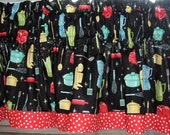 TWO Valances Window   (two)  40 x  16 Black Retro Kitchen appliance utensil Print with Red Dot Banded Hem Border 100% Cotton  THE ORIGINAL!