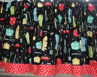 Black Retro Kitchen Valance 40 x  16 appliance utensil Print with Red Dot Banded Hem Border 100% Cotton  THE ORIGINAL!