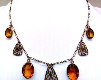 Art Nouveau Czech Brass Filigree Bezel Set Citrine Diamond Cut Art Glass Festoon Necklace