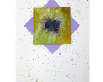 Handmade Mixed Media Greeting Card, Dark Blue, Gold, Lilac
