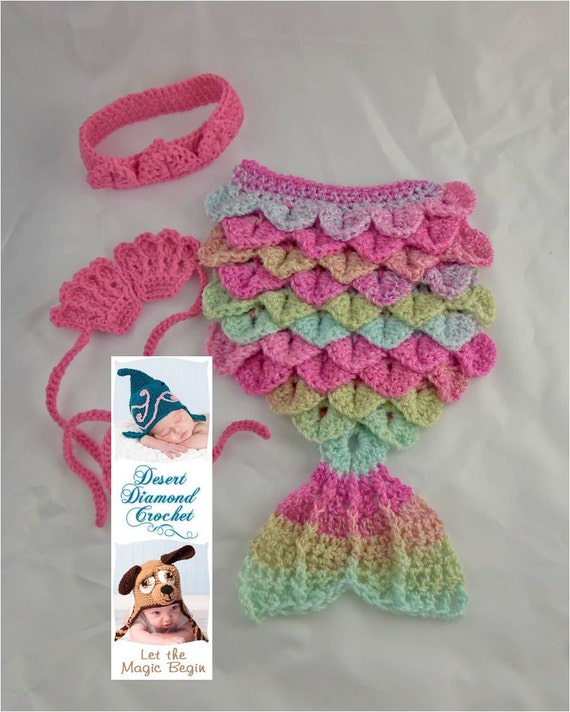 Luau & Pink Mermaid Cape Newborn Photography Prop - In Stock