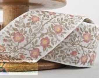 Dog Rose Ribbon - White/Olive/Rose (1 meter, Item:100361-04-100), Made in Germany