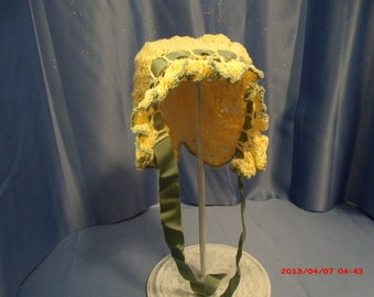 Victorian Baby Bonnet in Yellow and Sage Green