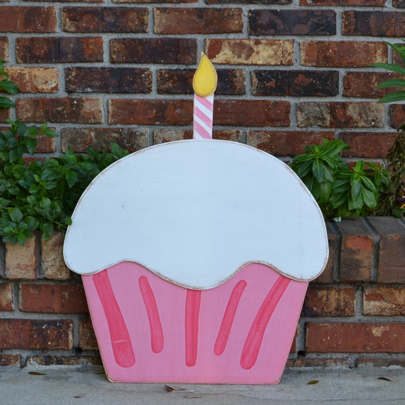 Happy Birthday Pink & Hot Pink  Striped Wooden Cupcake, Door Hanger, Children's Birthday - many colors available 24""