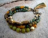 Green Jade / Trade Beads / Bohemian Bracelet /  Gypsy Bracelet / Boho Jewelry / Healing Energy Bracelet / Lotus Bracelet
