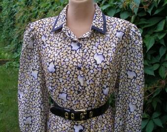 Pencil Dress / Dress Vintage / Buttoned Dress / Size EUR44 / UK16 /  Violet / Black / Yellow / White