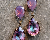 Lavender Raspberry RARE Purple Opal Earrings Swarovski Crystal Vintage Earrings Rainbow Tear Drop Rhinestone Earrings Duchess Hourglass Gift