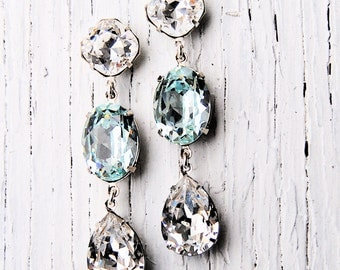 Clear Crystal Diamond Light Icy Aquamarine Earrings Swarovski Crystal Earrings Tear Drop Post Dangle Rhinestone Earrings Fiesta Mashugana