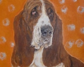 I will paint a portrait of your pet for you, Basset Hound Painting, Acrylic,
