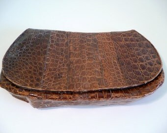 Vintage Clutch Purse Handbag Brown Lizard Alligator Forties or Fifties Fashion Clothing Costume Accessory