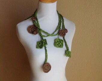 Green and Brown Circles and Squares Adjustable Lariat
