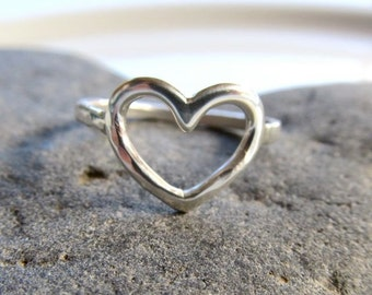 Sterling Silver Heart Ring, Love, Sweetheart, Hammered, Anniversary, Handmade Maui, Christmas Gift, Bridal Jewelry, Rings, Boho Fashion