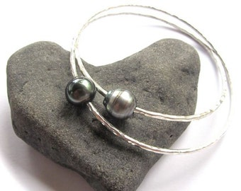 GenuineTahitian Pearl Bangle, Sterling Silver, Hammered Bracelet, Hawaii Beach Jewelry, Elegant, Bridal Jewelry, Wedding, Gift Idea