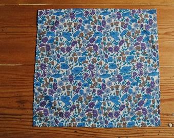 Handmade Liberty Fabric Pocket Square Handkerchief in Poppy and Daisy