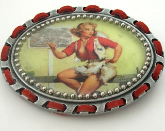 """Vintage Cowgirl Pin Up Girl  """"Going My Way""""  Buckle and Leather Belt"""